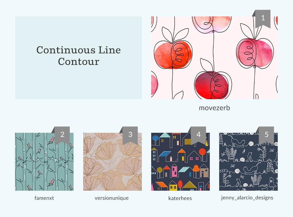 Top 5 designs for the Continuous Line Contour Design Challenge