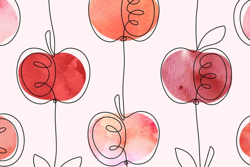 apple pattern with a black continuos line contour and watercolor apple shapes in various shades of red