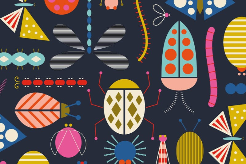 Microscopic Worlds winning design - Colorful and geometric bugs on a dark blue background