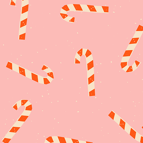 Pattern featuring red and white striped candy canes