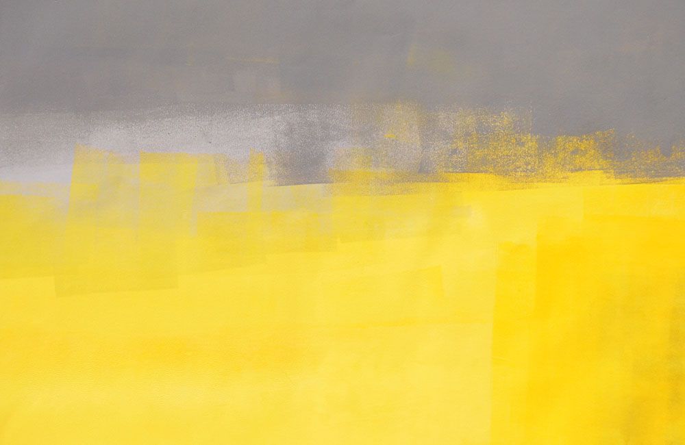 A color field painting using gray at the top and yellow at the bottom
