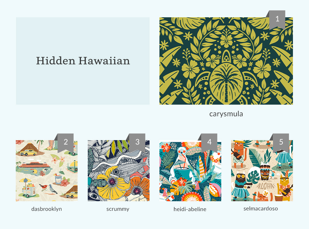 Top 5 for the Hidden Hawaiian Design Challenge