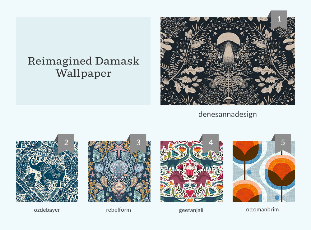 top five designs for reimagined damask wallpaper design challenge