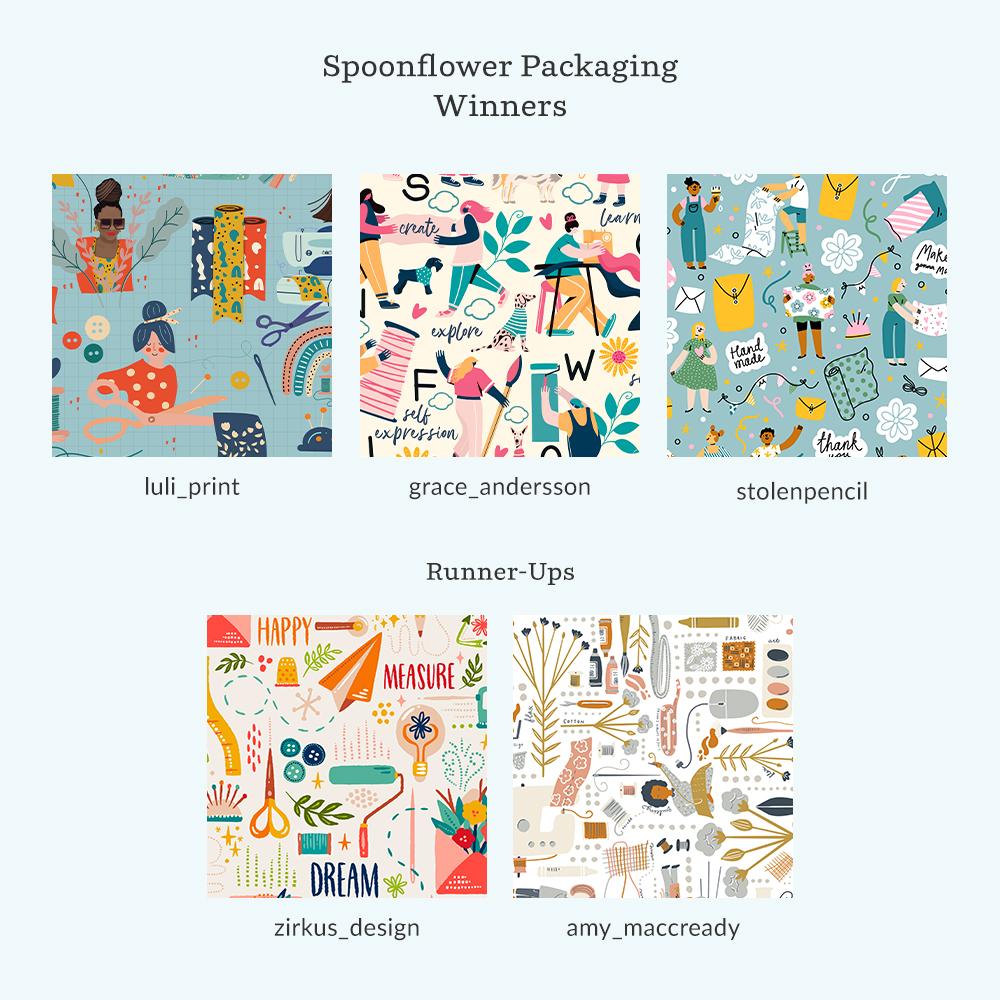 Spoonflower Packaging winners and runner-ups