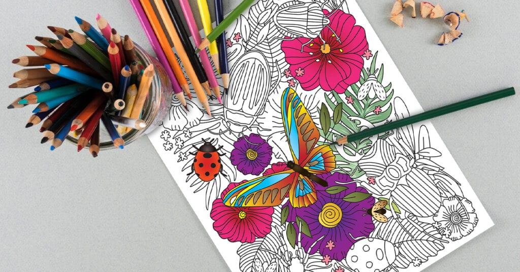 Malvorlage zum Ausdrucken - Blumen Schmetterling