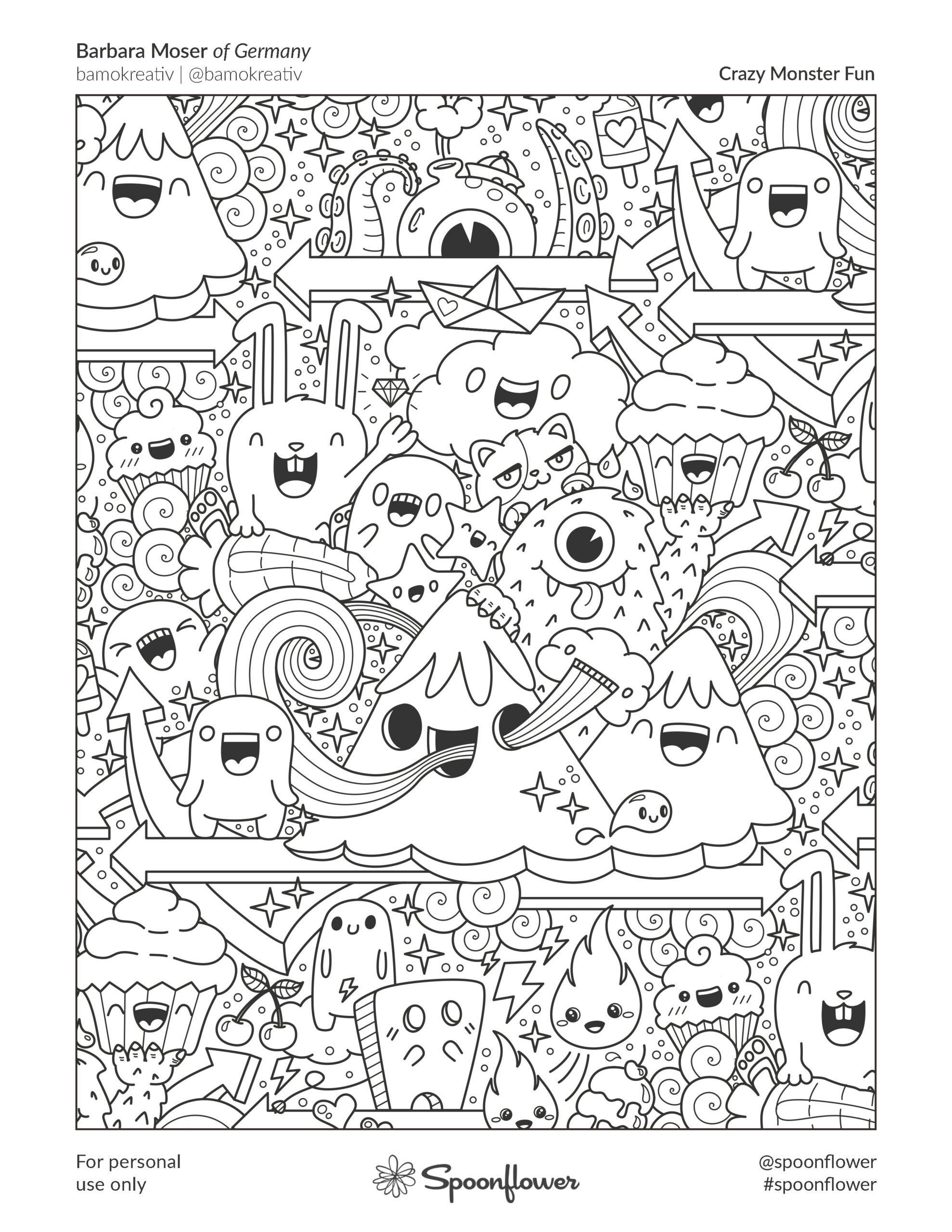 Coloring Book Page - Crazy Monster Fun by Barbara Moser