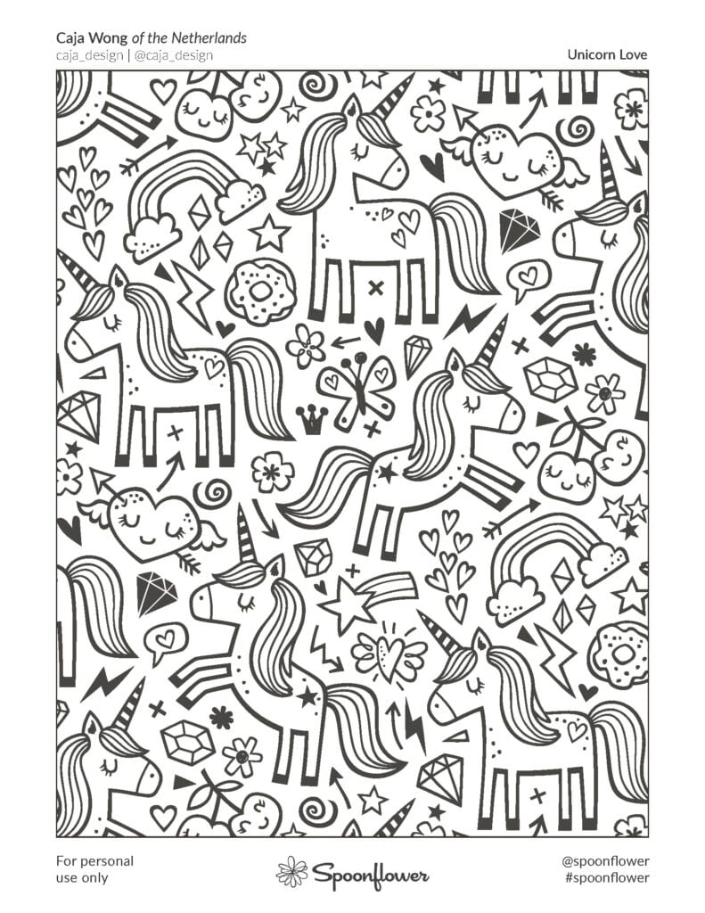 Coloring Book Page - Unicorn Love by Caja Wong