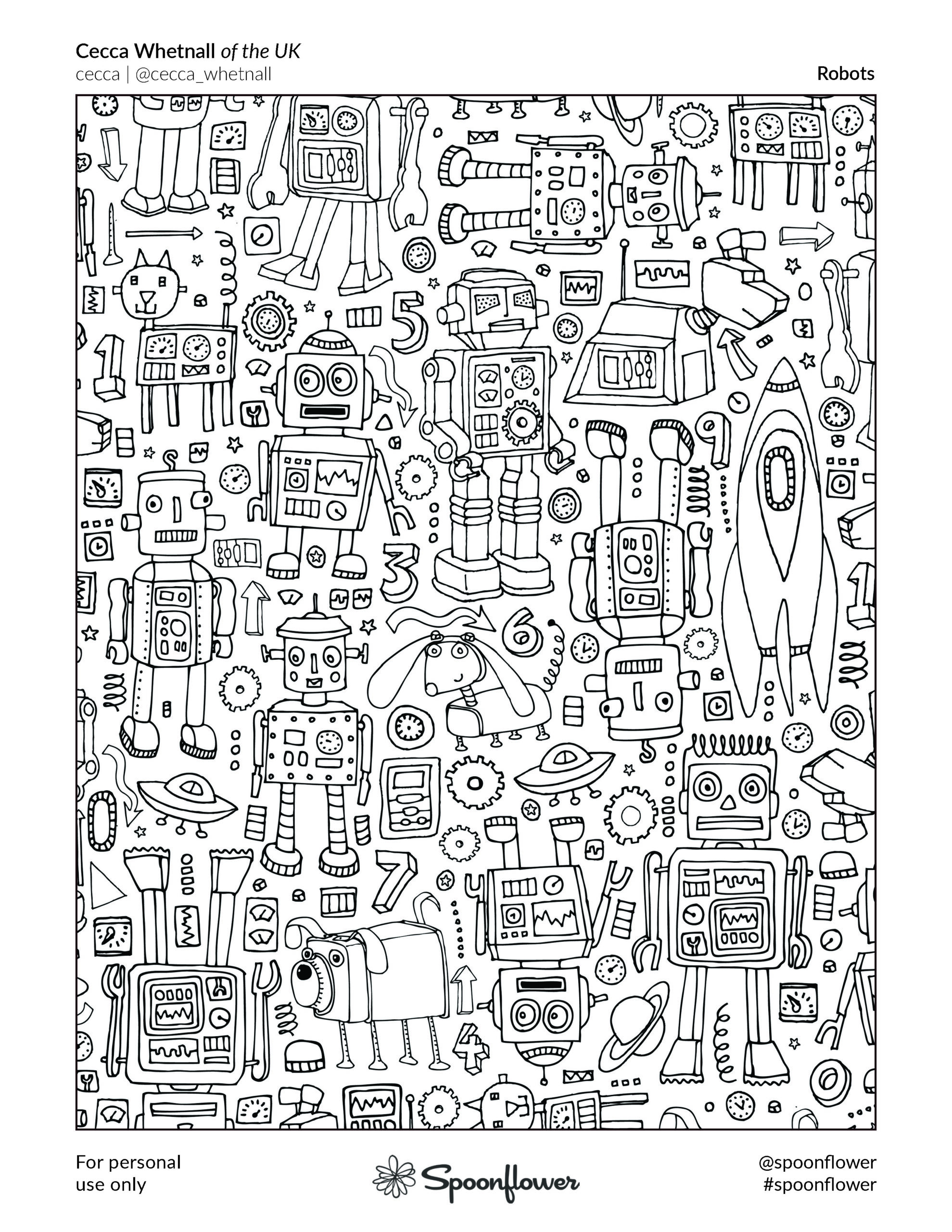 Coloring Book Page - Robots by Cecca Whetnall