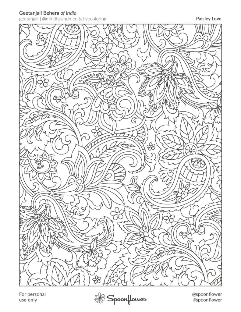 Coloring Book Page - Paisley Love by Geetanjali Gehera
