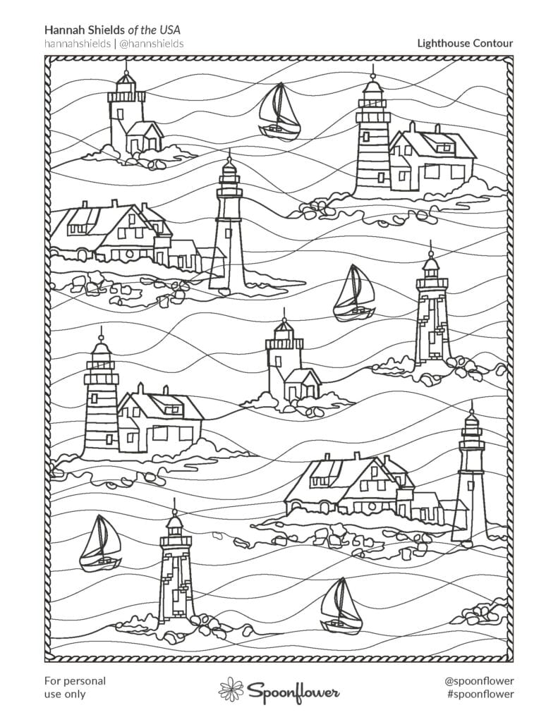 Coloring Book Page - Lighthouse Contour by Hannah Shields