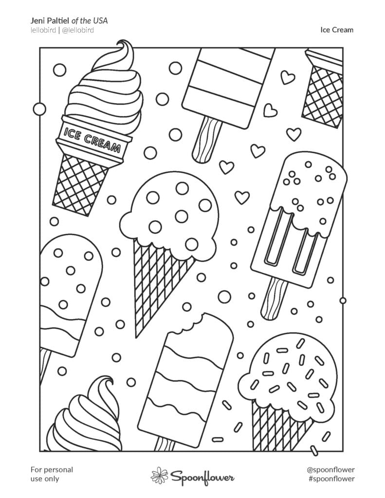 Coloring Book Page - Ice Cream by Jeni Paltiel