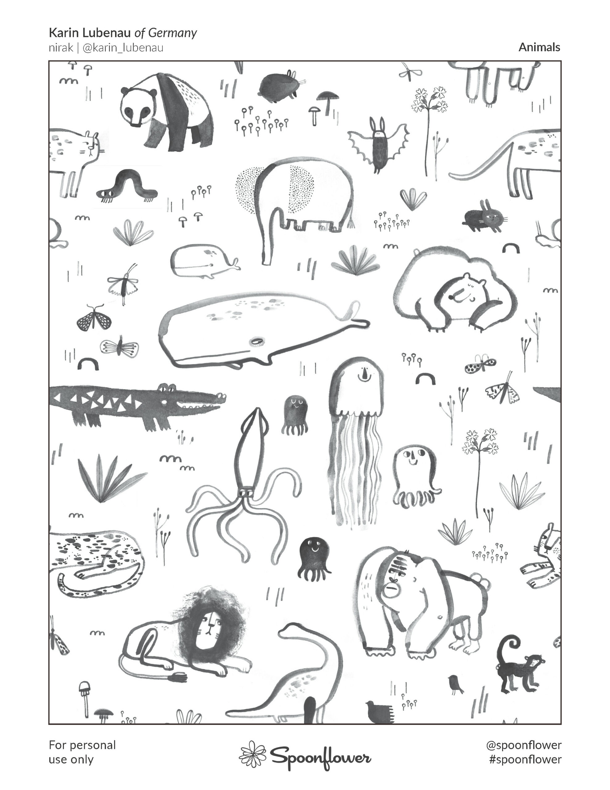 Coloring Book Page - Animals by Karin Lubenau