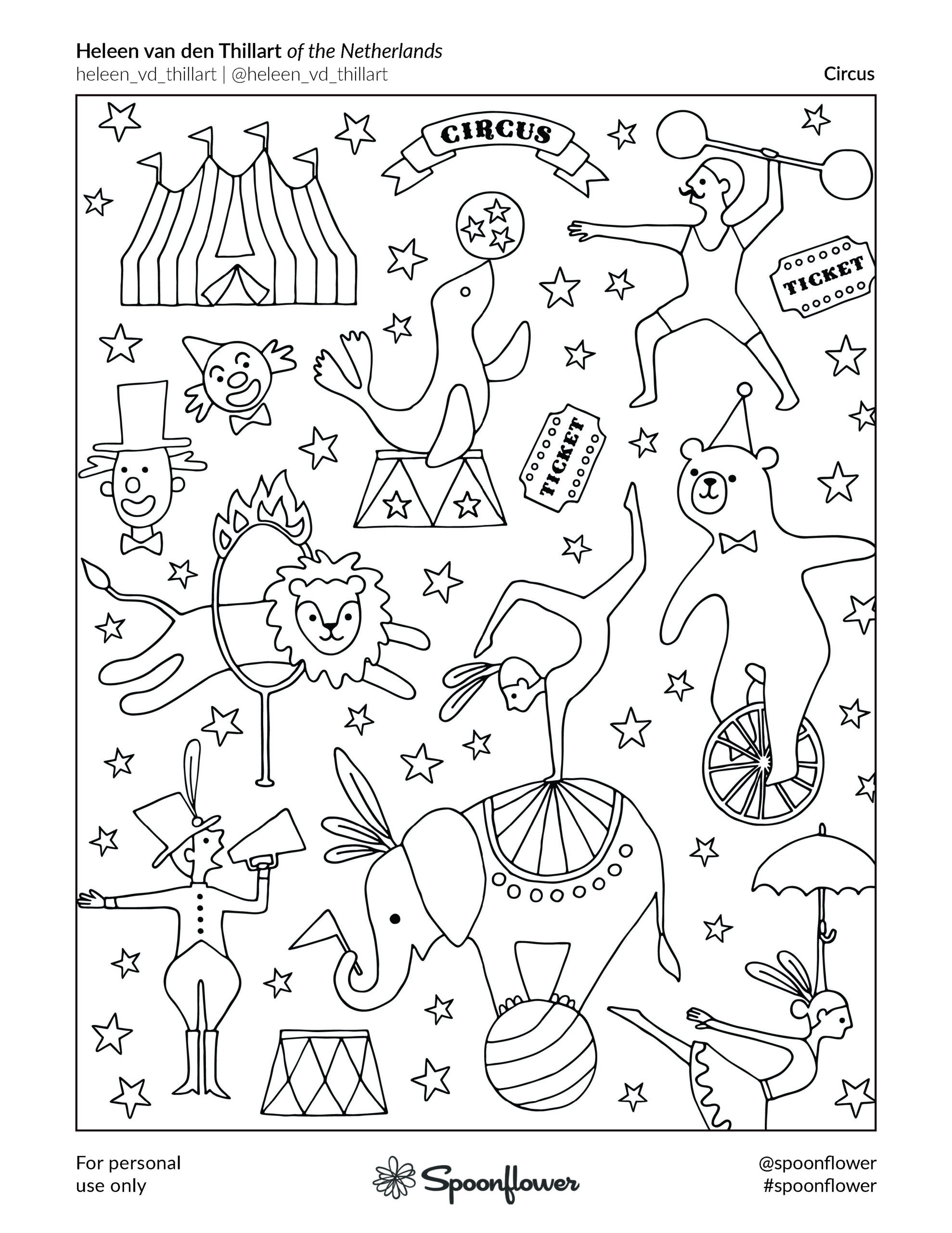 Coloring Book Page - Circus by Heleen van den Thillart