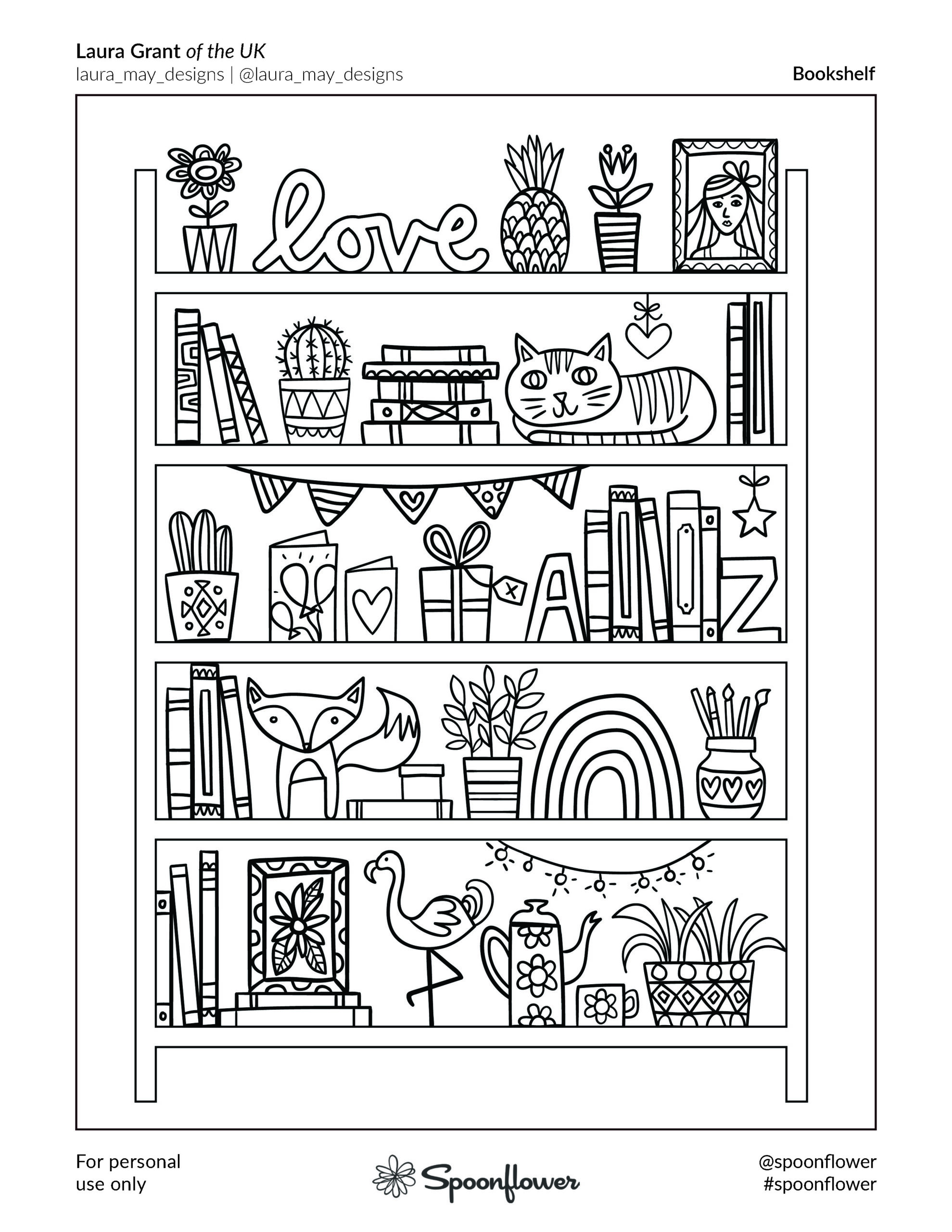 Coloring Book Page - Bookshelf by Laura Grant