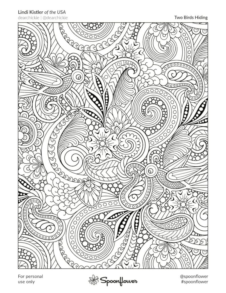 Coloring Book Page - Two Birds Hiding by Lindi Kistler