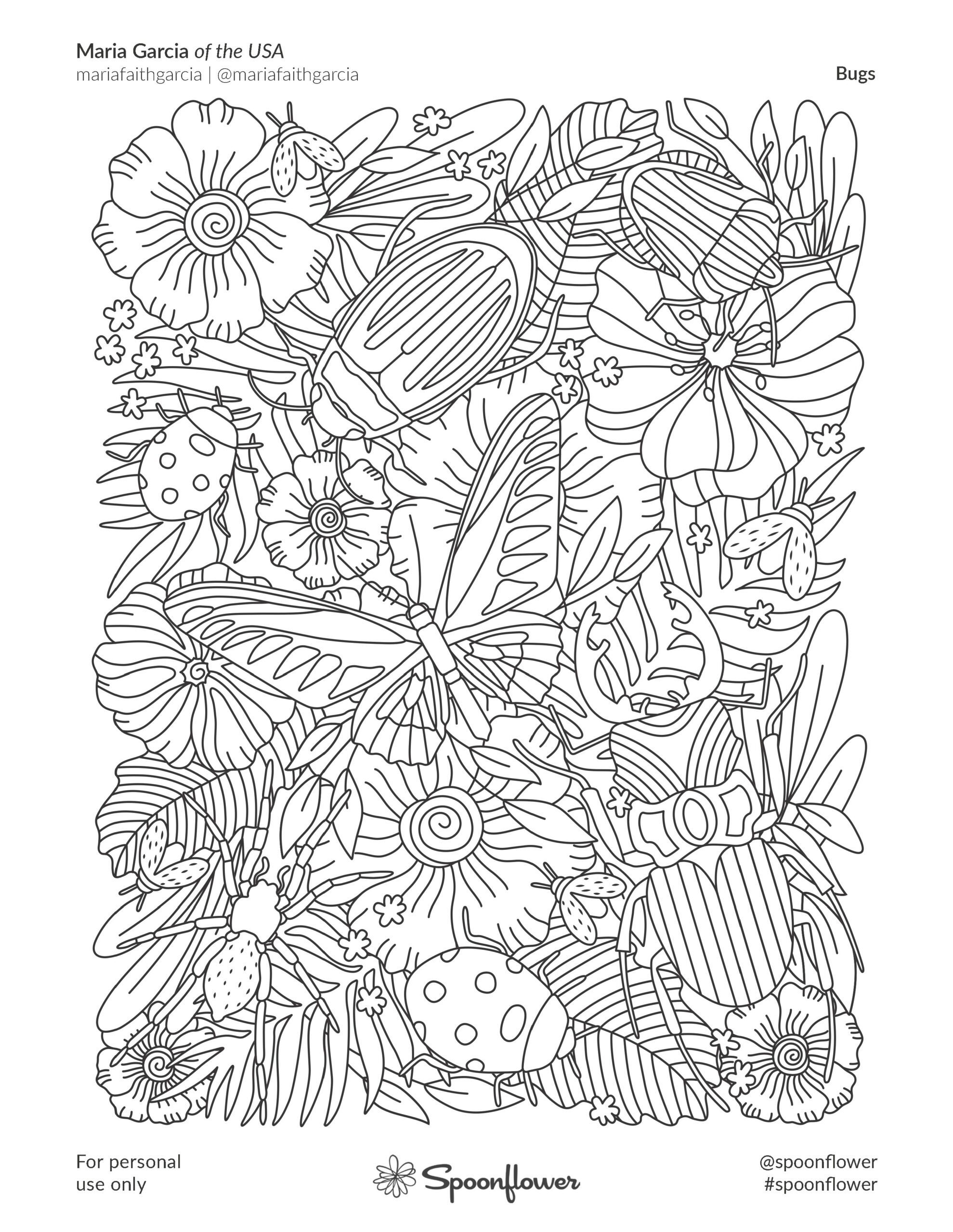 Coloring Book Page - Bugs by Maria Garcia