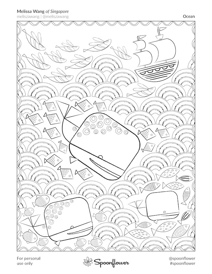 Coloring Book Page - Ocean by Melissa Wang