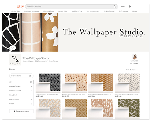 The Wallpaper Studio by Erin Kendal on Etsy screenshot