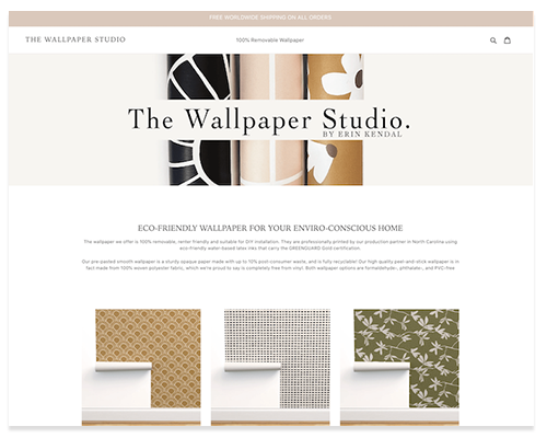 The Wallpaper Studio by Erin Kendal ecommerce shop screenshot