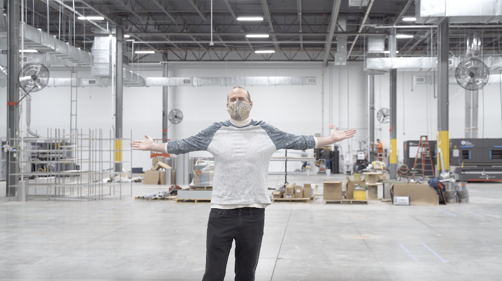 Spoonflower founder and COO Gart Davis in the new factory space