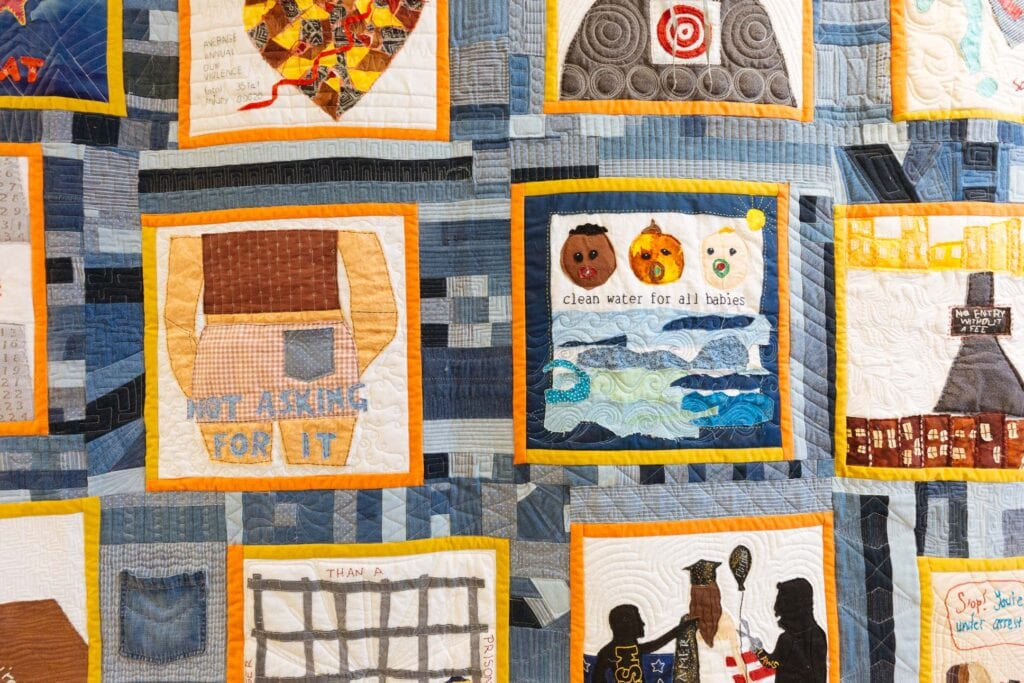 Social justice quilt blocks made by students