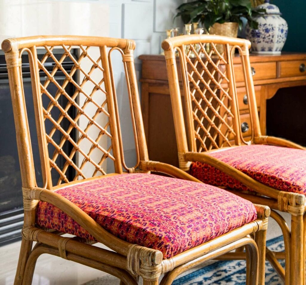Upholstered dining chairs with Recycled Canvas