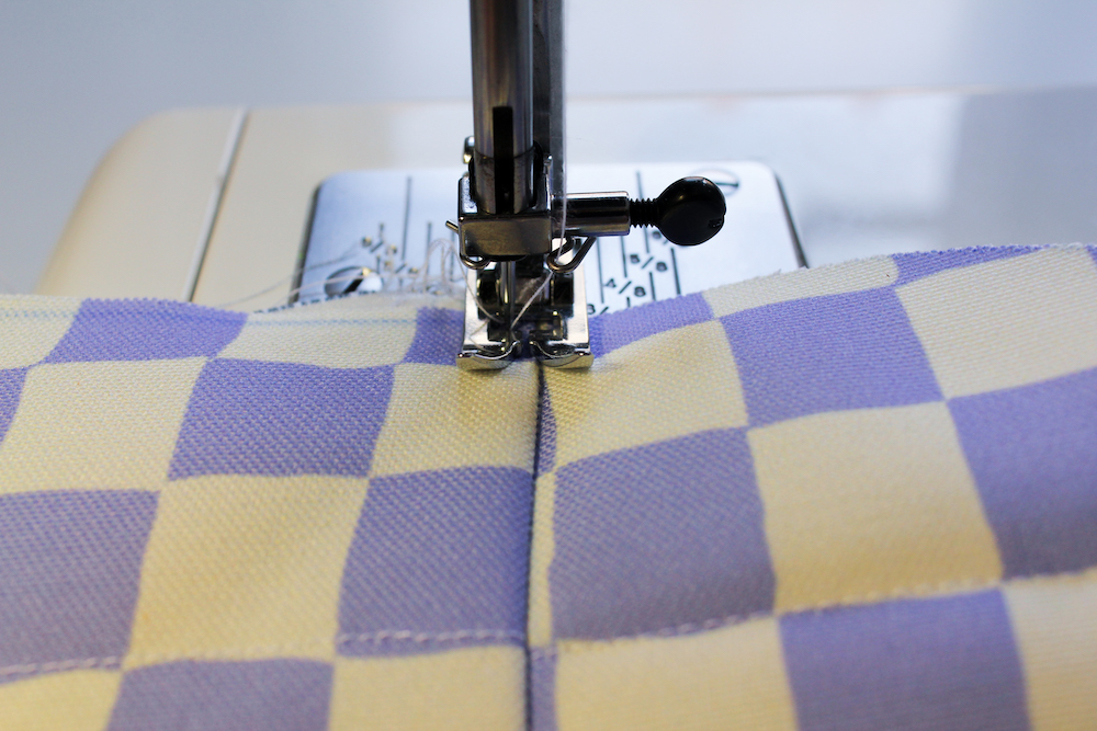 Topstitching the laptop bag flap