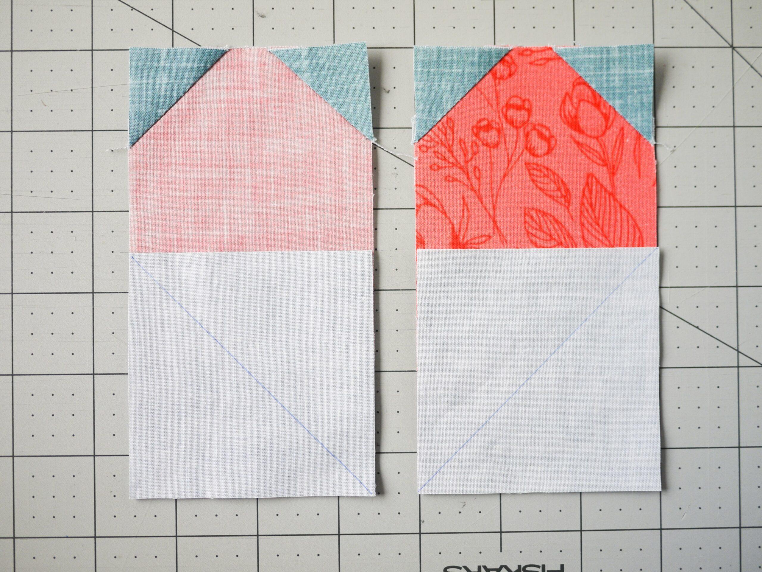 Die zwei Quilt Herzhälften für dein Quilt Quadrat