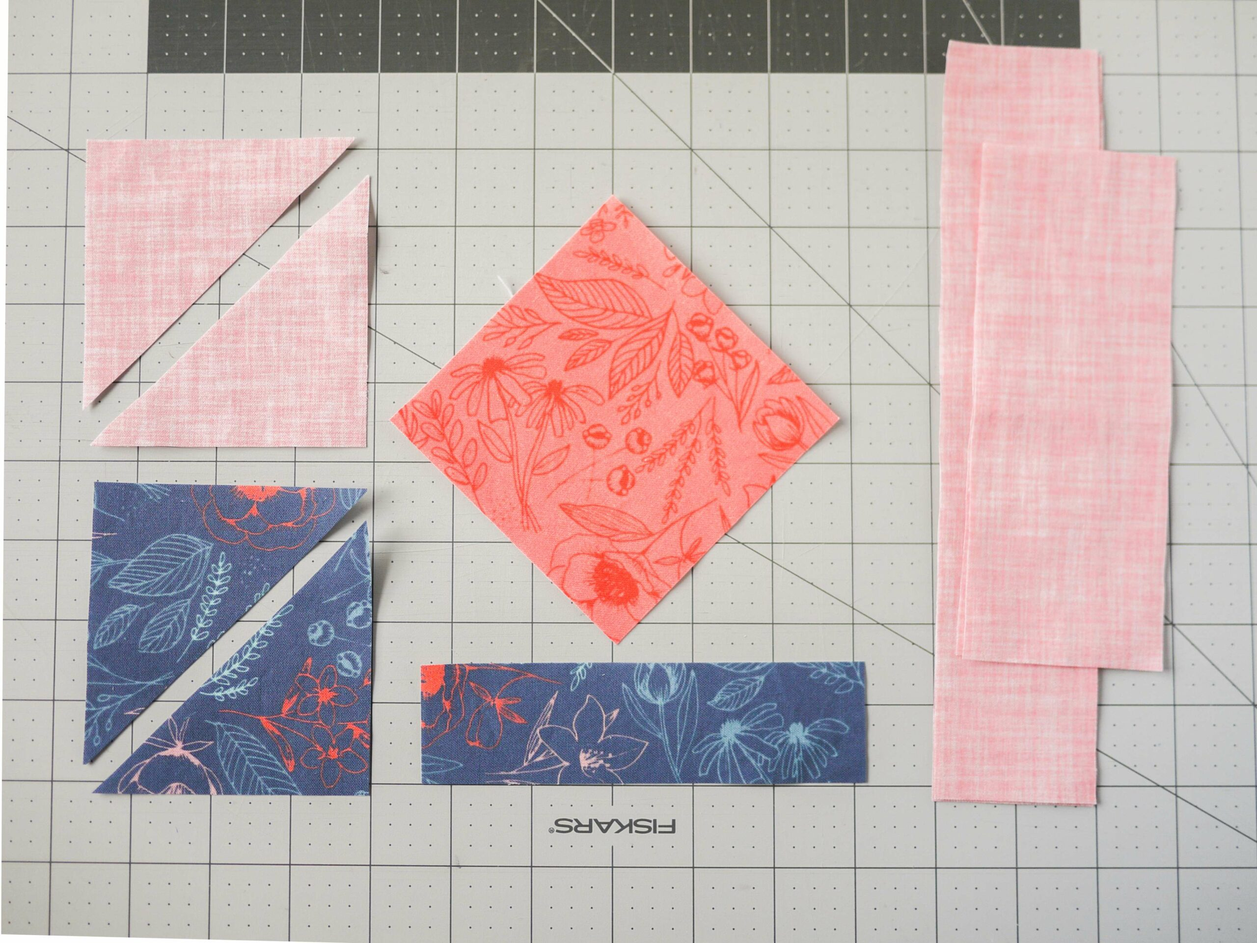 Fabric laid out to make block