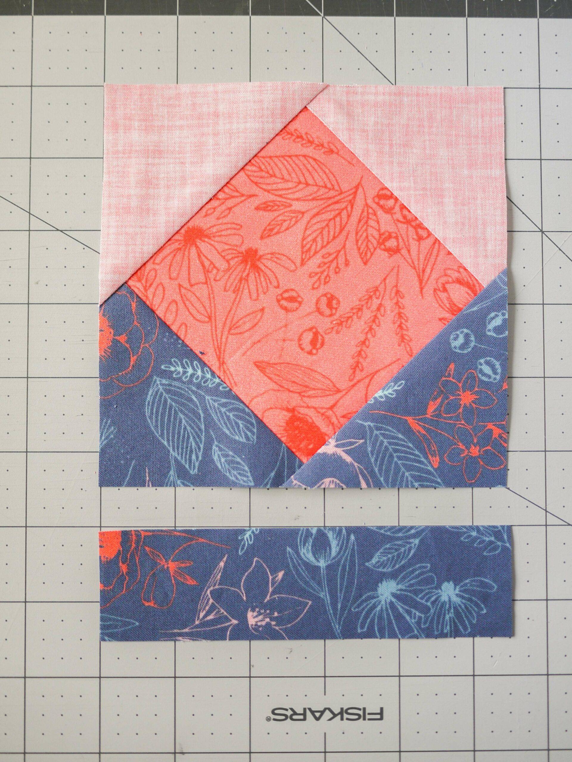 Lege die Dreiecke auf das Quadrat für das Umschlag Design für die Spoonflower Quilt Quadrate Party