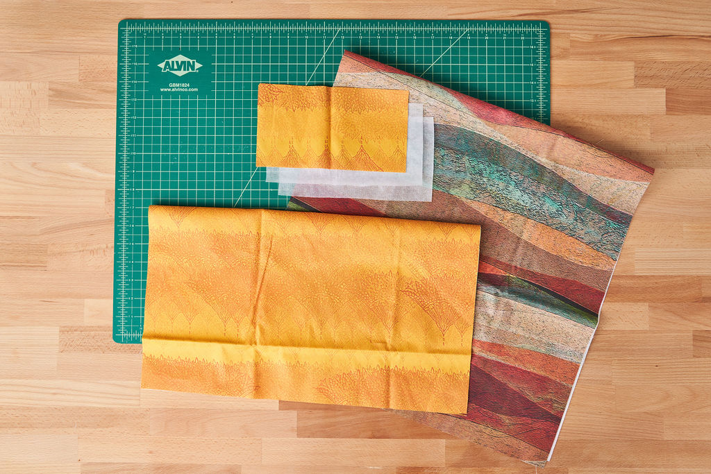 Cut fabric for the matzah cover and afikomen bag