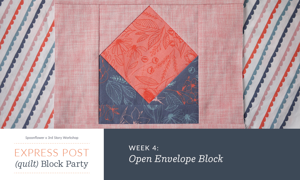 Graphic introducing the open envelope quilt block
