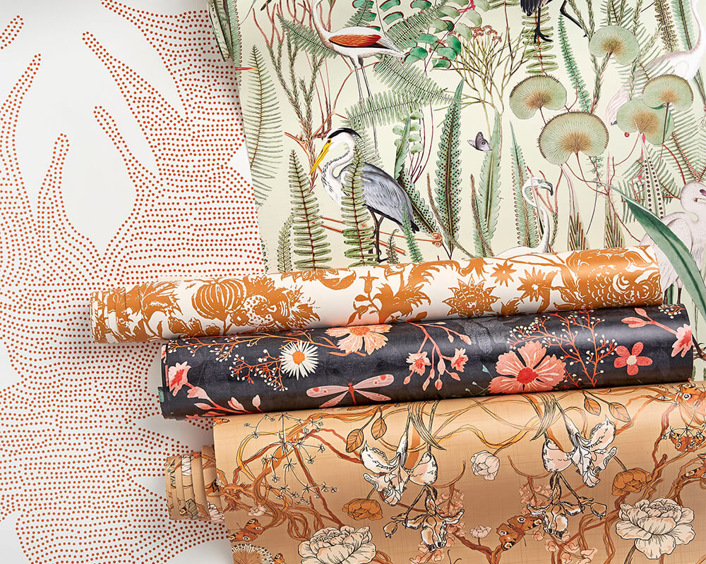 Wallpaper featuring earth tones and flora and fauna imagery