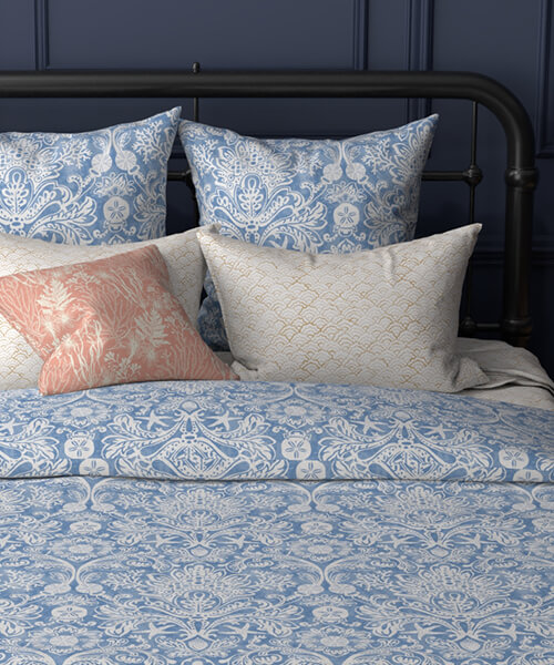 A bedding set featuring marine life designs