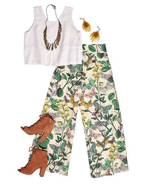 Pants featuring a vintage floral design