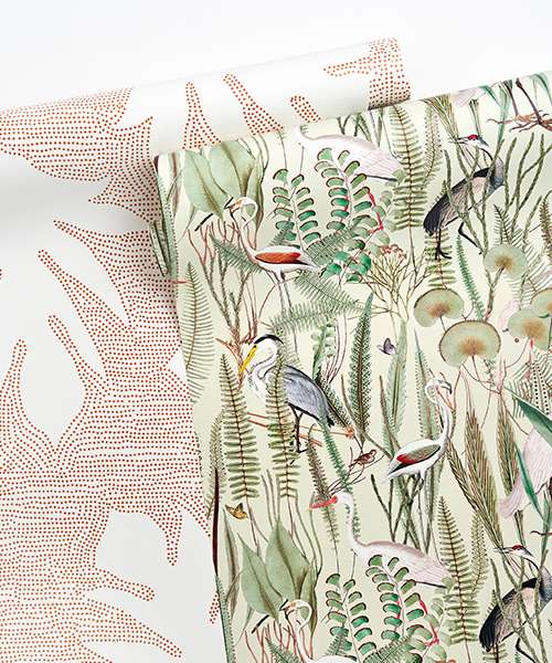 Wallpaper featuring flora and fauna illustrations