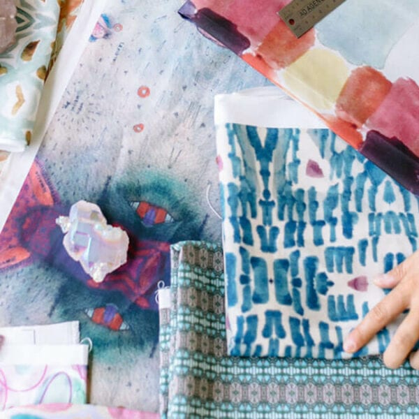 Looking through fabric with bold colored pattern designs