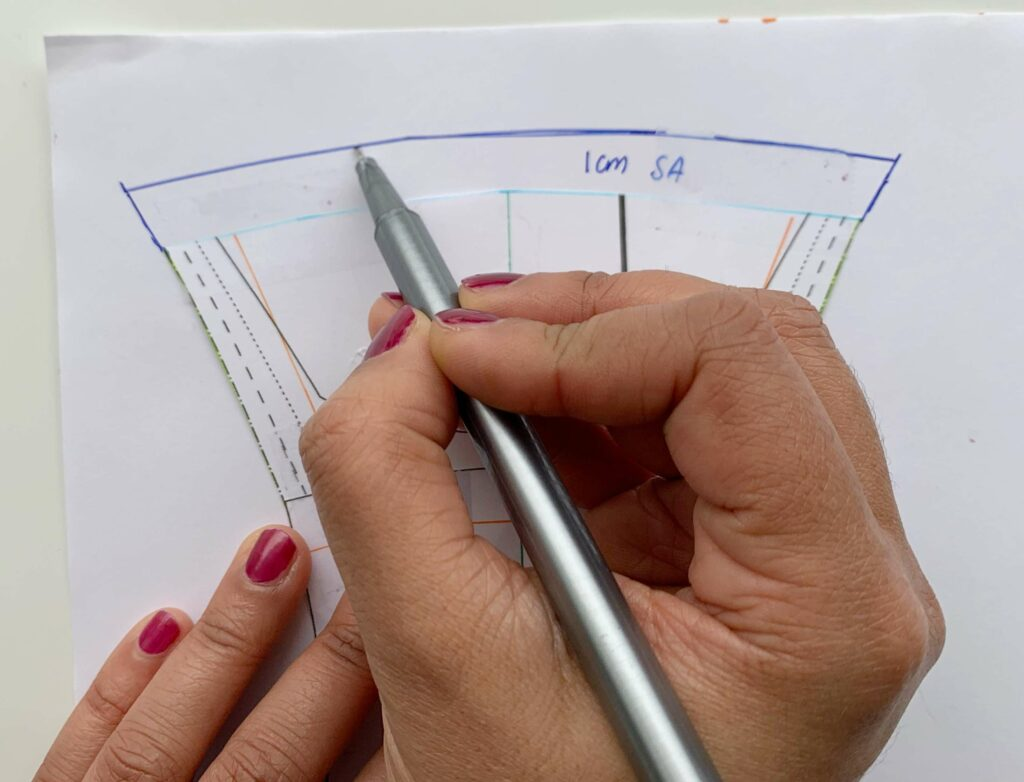 Drawing the seam allowance back into the pattern