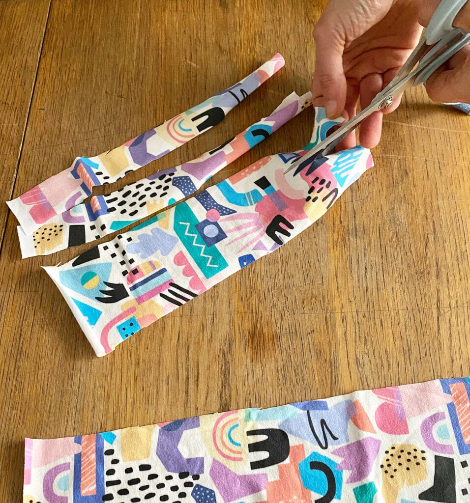 Cutting strips of cotton jersey fabric to make sponge with