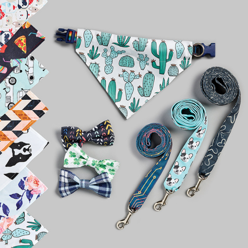 dog bandanas, leashes and bow ties with colorful prints
