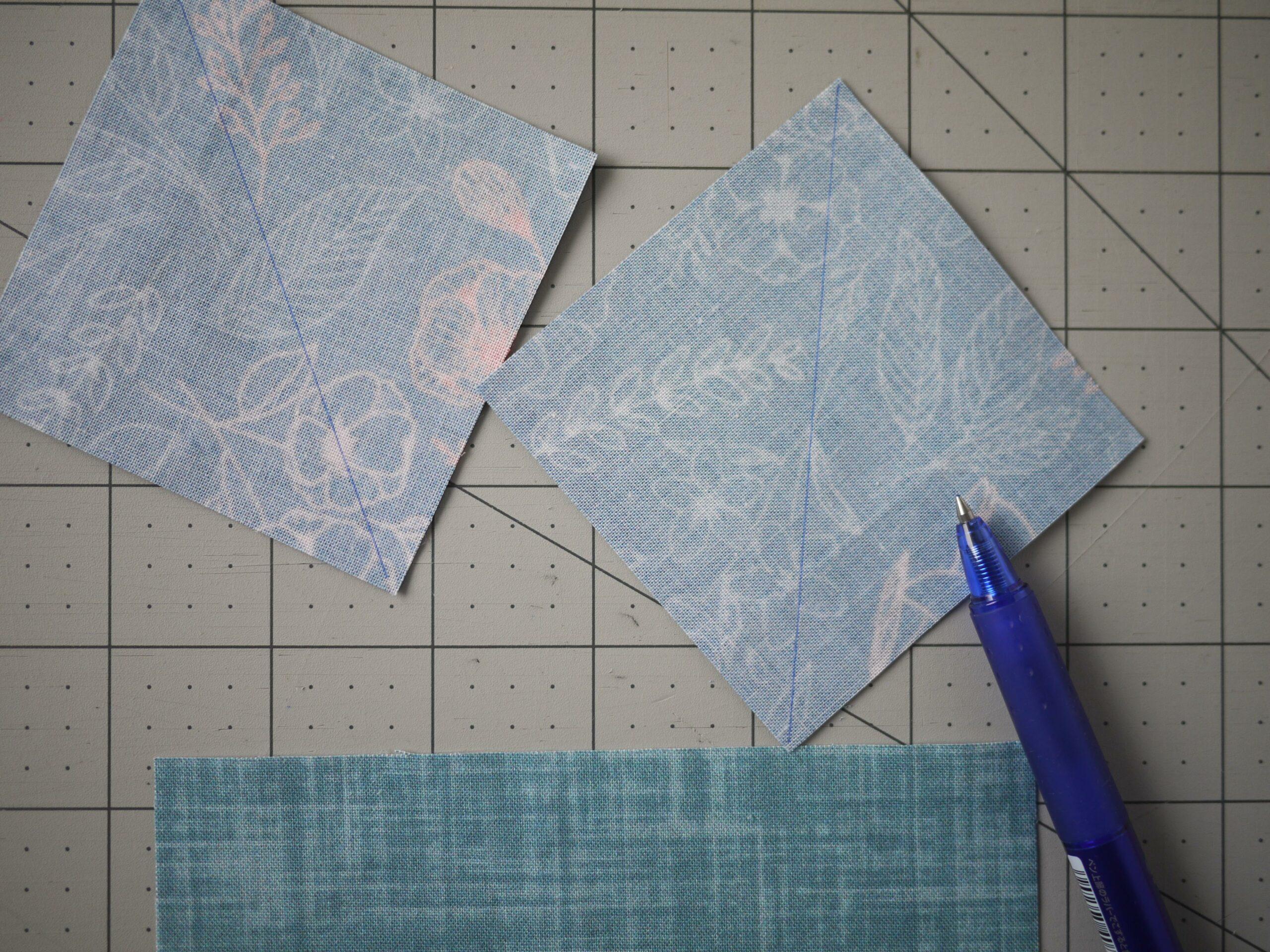 Diagonale Linie auf der Rückseite markieren - Quiltstoffe