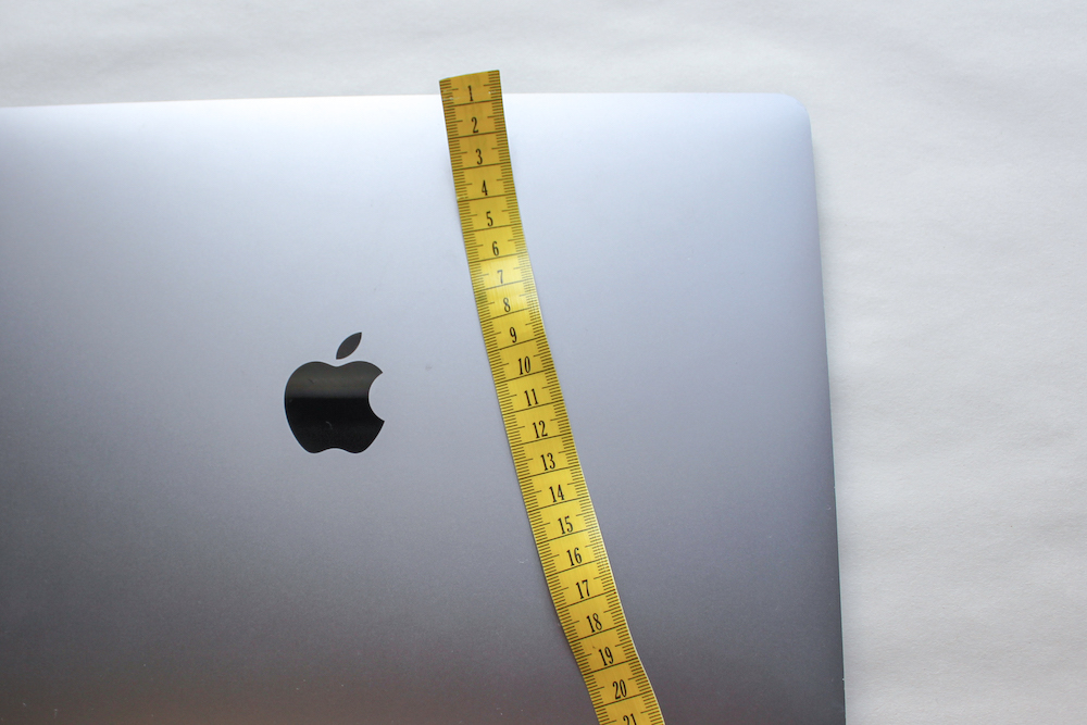 Laptop with tape measure