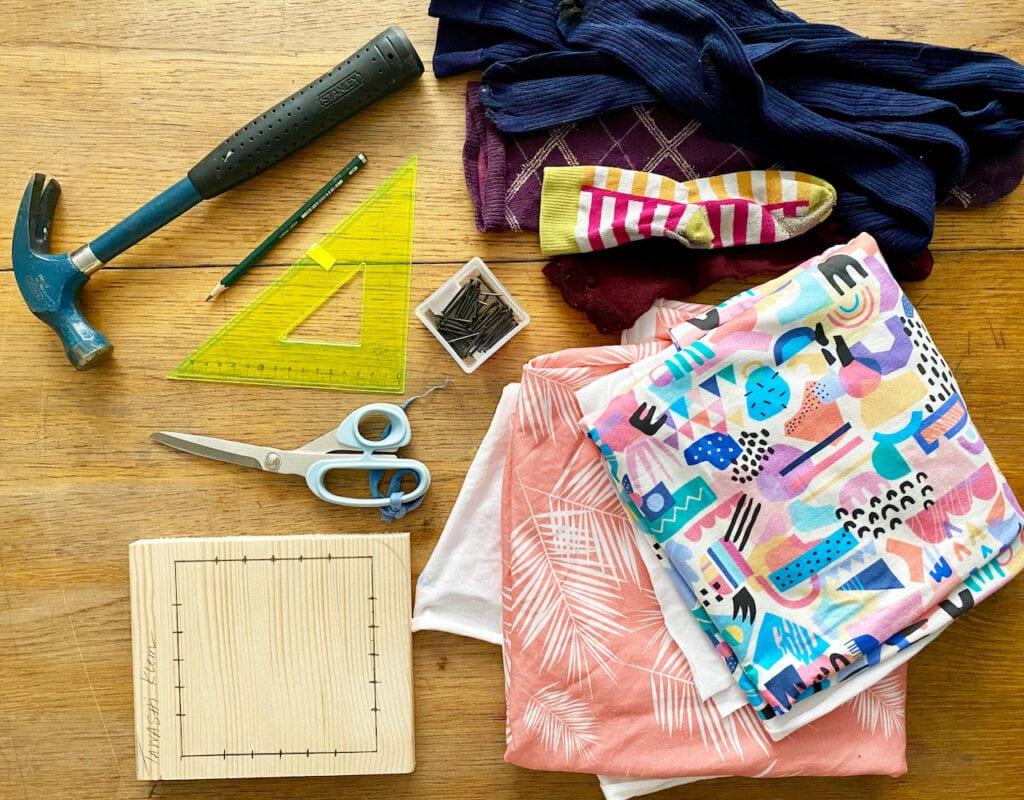 Materials to make a tawashi sponge