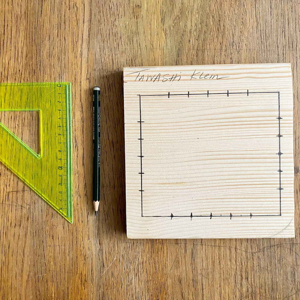 Tawashi sponge wooden loom, marked.