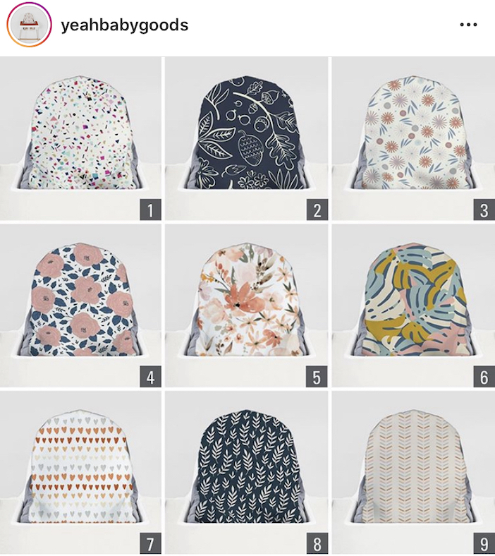 A instagram post showing a grid of design options to choose from