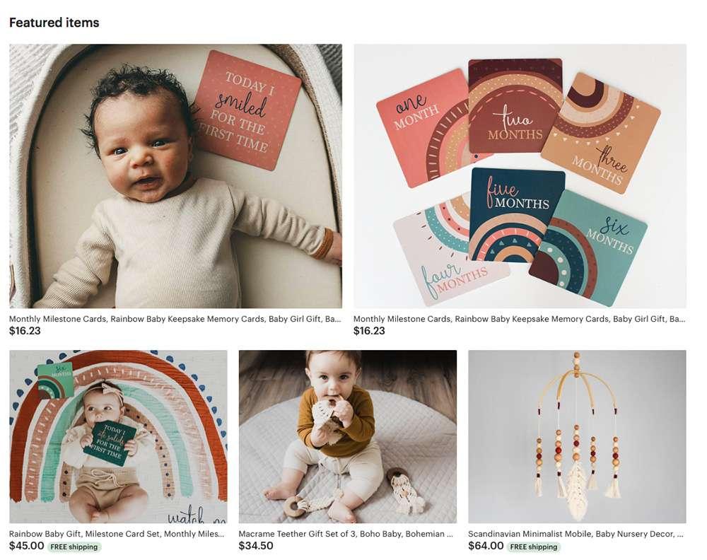 Katies Etsy Schaufenster, mit verschiedenen Produkt- und Lifestylefotos, gehalten in Brauntönen