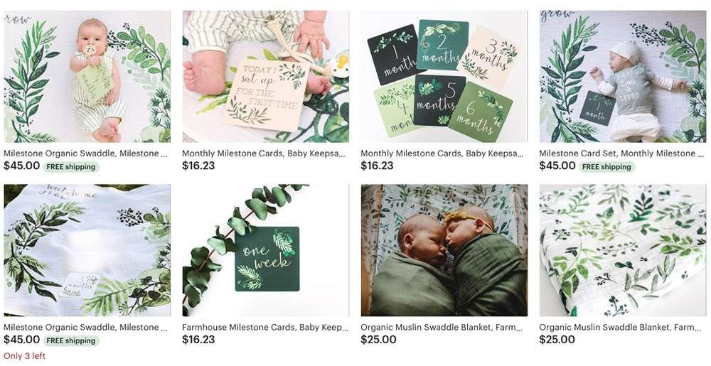 Katies Etsy Schaufenster mit Fotos mit Eukalyptus-Motiven inn grün gehalten