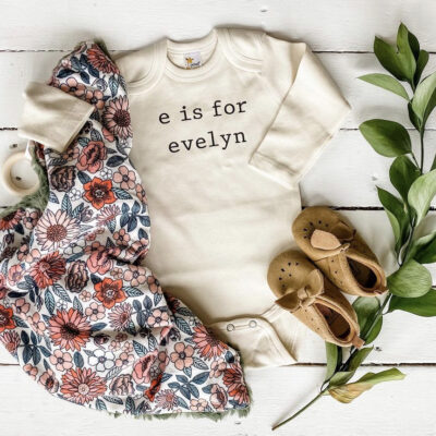 """Custom Onesie that says """"e is for evelyn"""""""