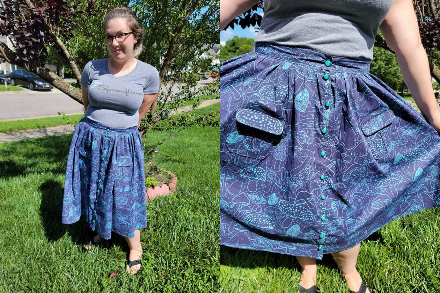 Skirt with a purple and blue mushroom design