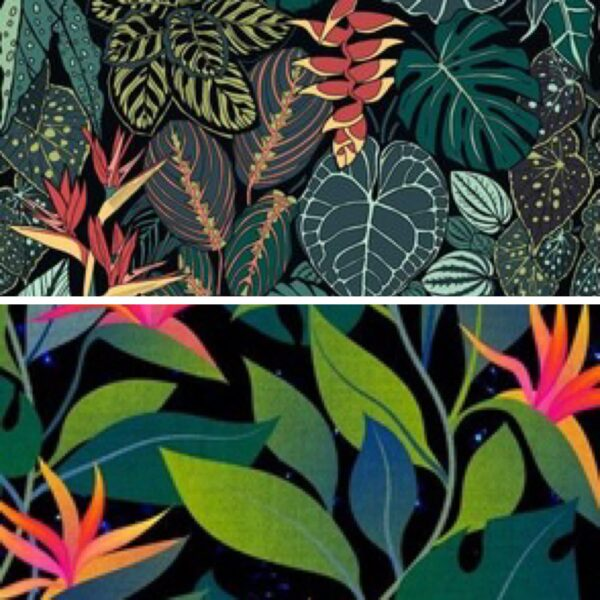 Two wallpaper designs, one with a variety of green and orange leaves, and one with green and teal leaves with orange flowers